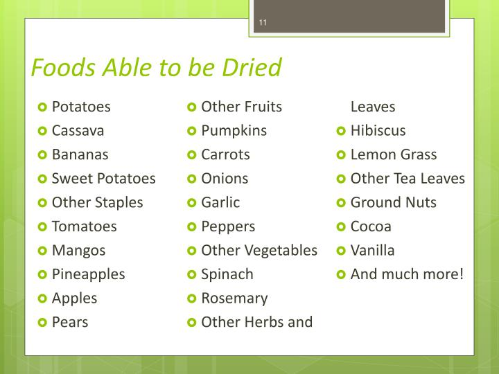 Foods Able to be Dried