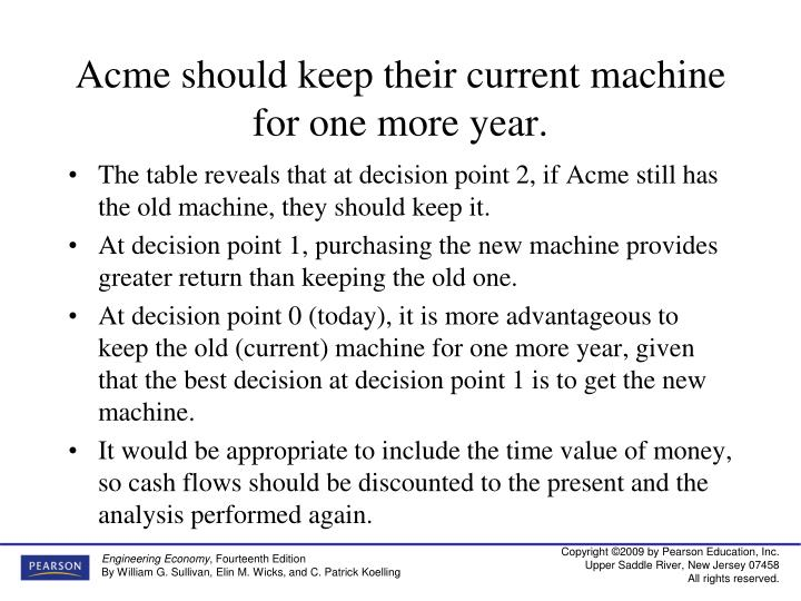Acme should keep their current machine for one more year.