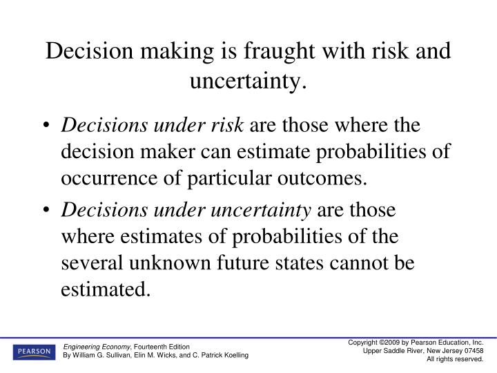 Decision making is fraught with risk and uncertainty