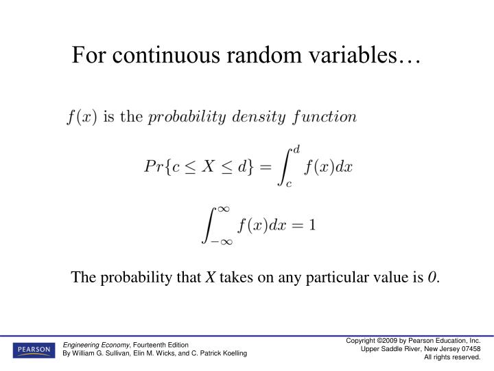 For continuous random variables…