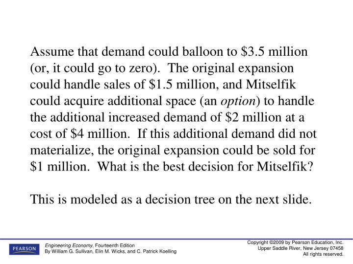 Assume that demand could balloon to $3.5 million (or, it could go to zero).  The original expansion could handle sales of $1.5 million, and Mitselfik could acquire additional space (an
