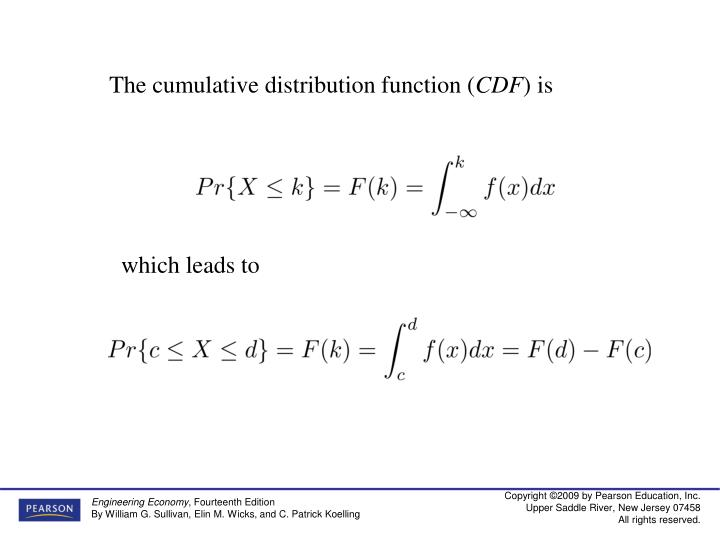 The cumulative distribution function (