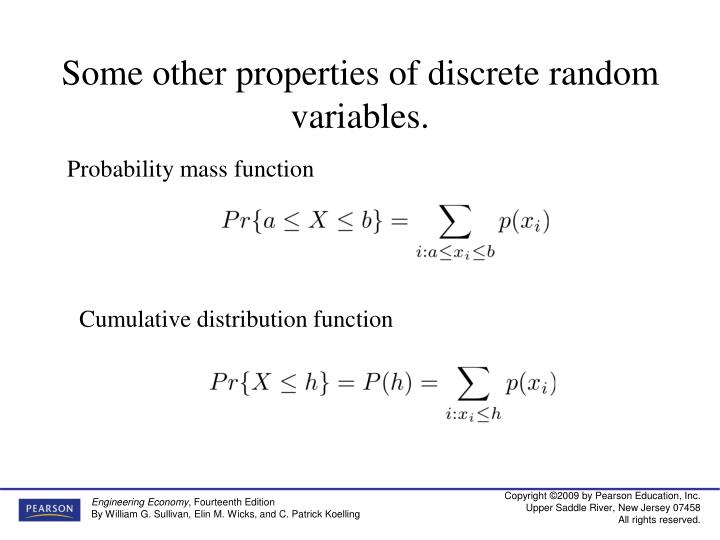 Some other properties of discrete random variables.