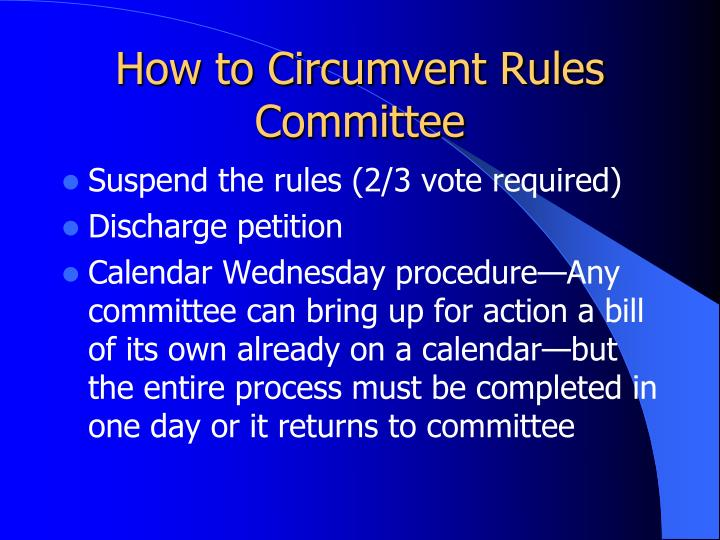 How to Circumvent Rules Committee