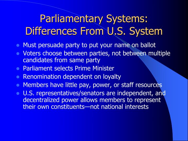 Parliamentary systems differences from u s system