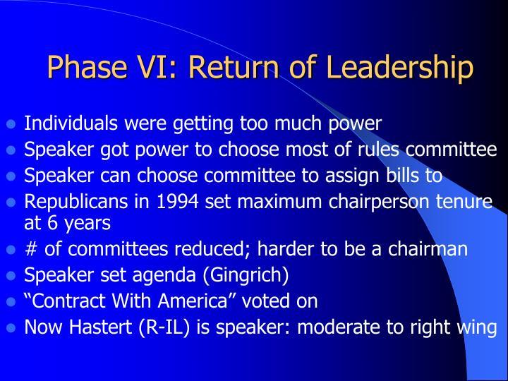 Phase VI: Return of Leadership