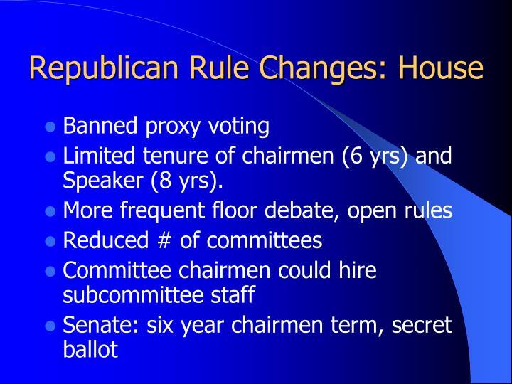 Republican Rule Changes: House