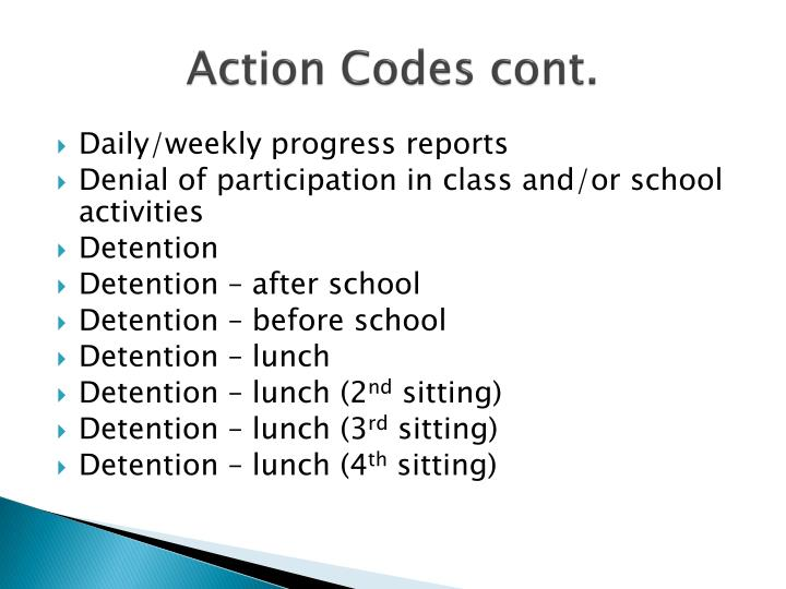 Action Codes cont.