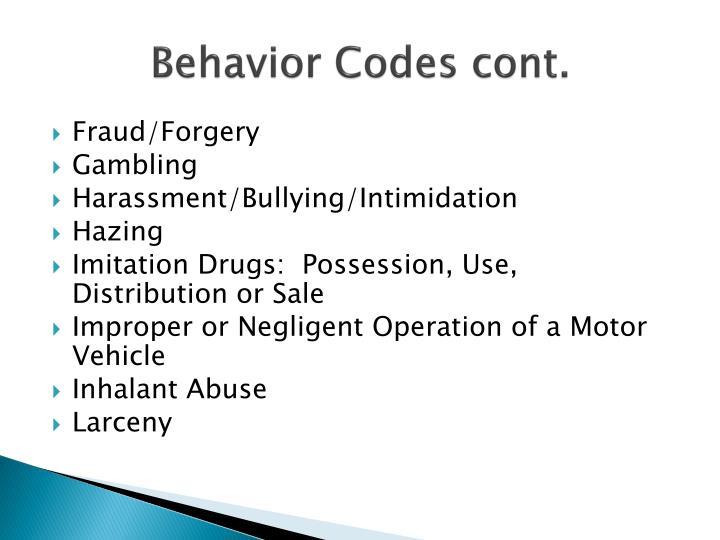 Behavior Codes cont.