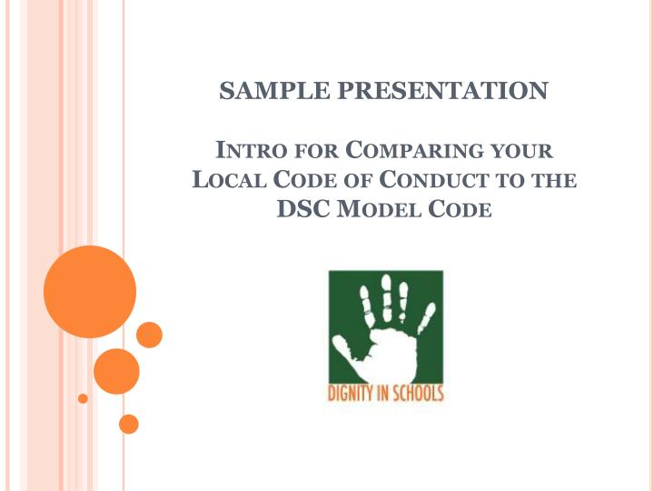 PPT - SAMPLE PRESENTATION Intro for Comparing your Local