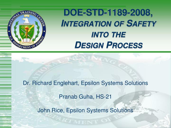 doe std 1189 2008 i ntegration of s afety into the d esign p rocess n.