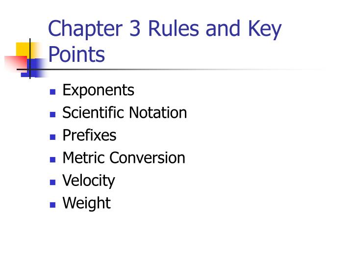 chapter 3 rules and key points n.
