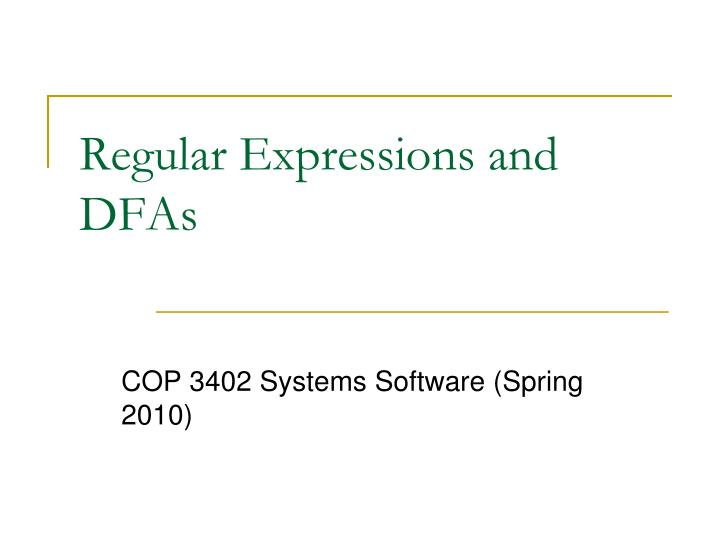 regular expressions and dfas n.