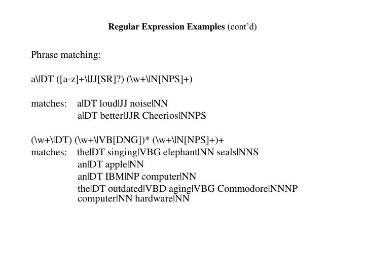Regular Expression Examples