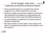 a final thought keith grint leadership and resilience research report
