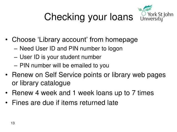 Checking your loans