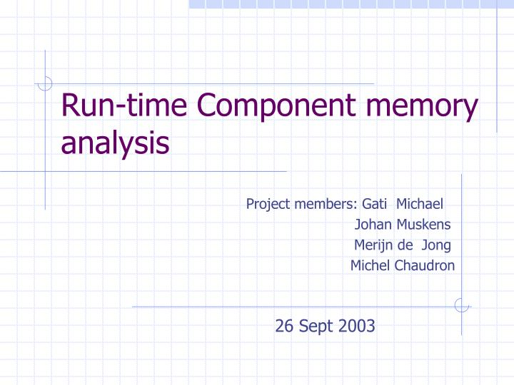 Run time component memory analysis