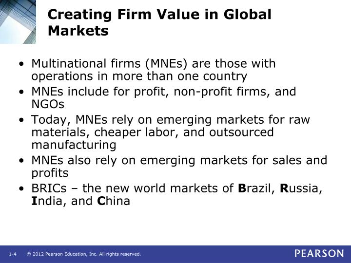 Creating Firm Value in Global Markets