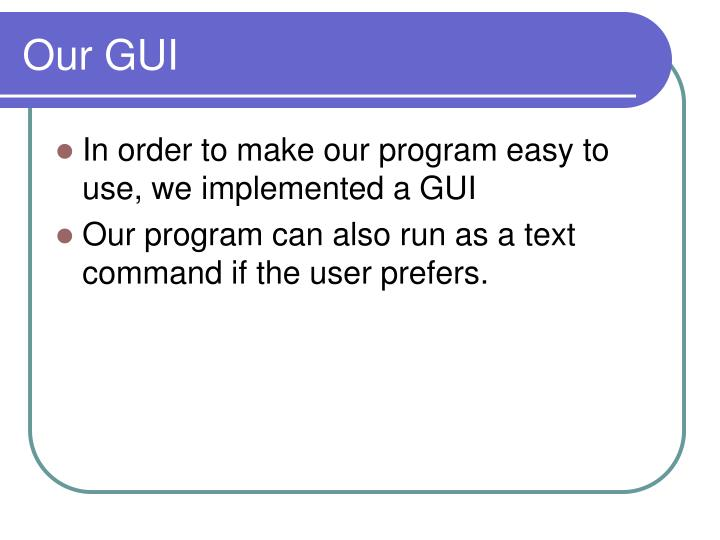 Our GUI