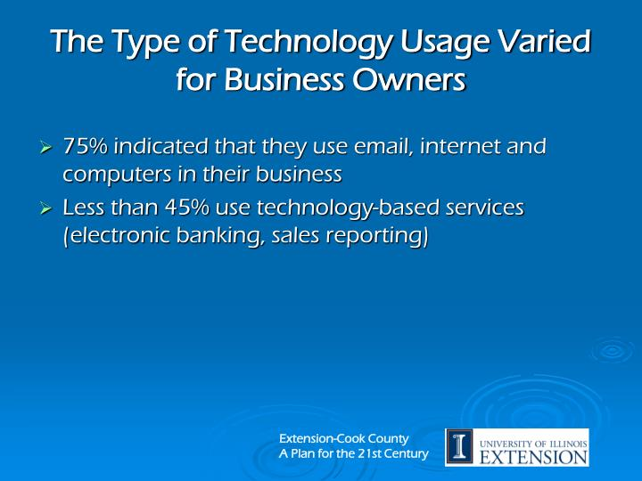 The Type of Technology Usage Varied for Business Owners