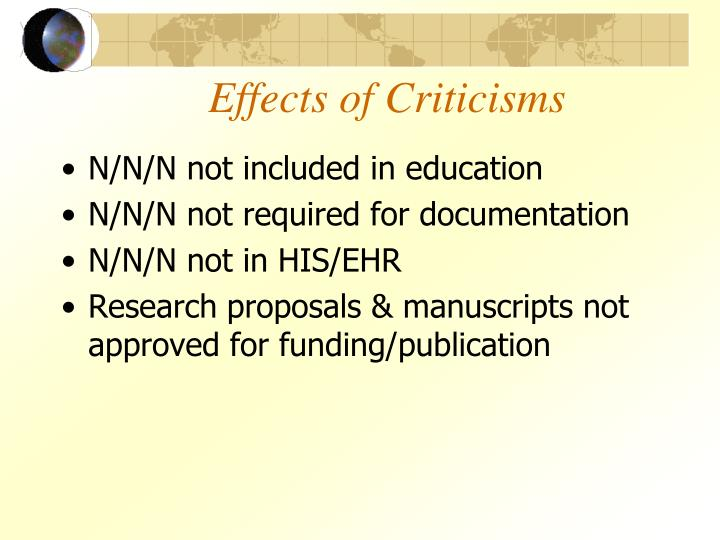 Effects of Criticisms
