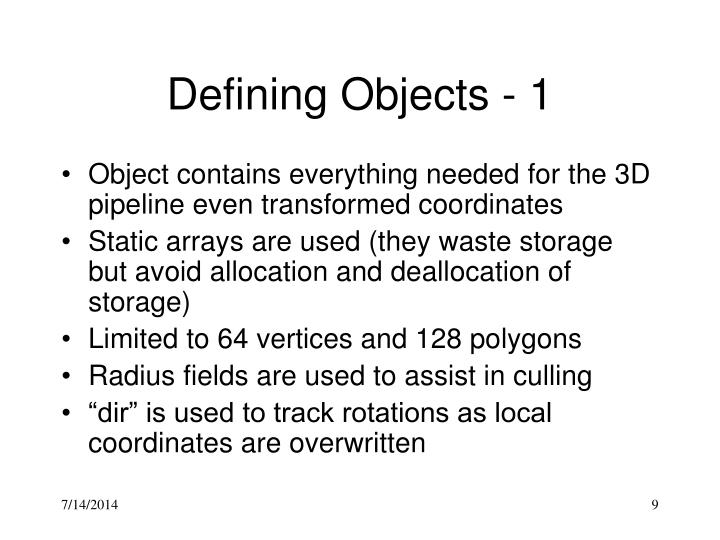 Defining Objects - 1