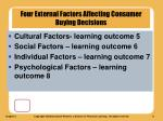 four external factors affecting consumer buying decisions
