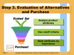 step 3 evaluation of alternatives and purchase