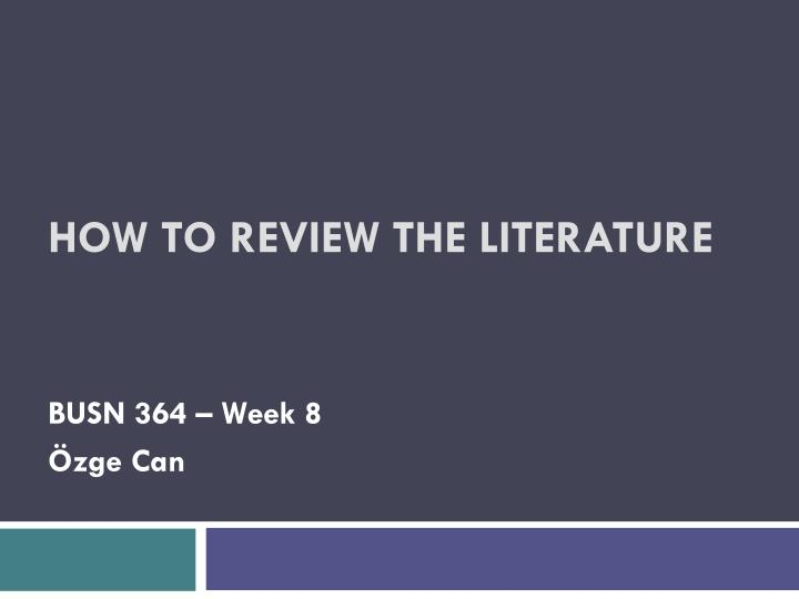 how to review the literature n.