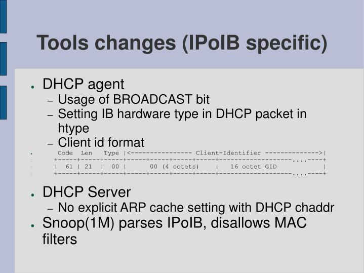 Tools changes (IPoIB specific)
