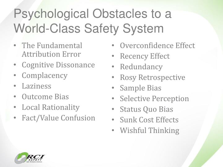 Psychological Obstacles to a World-Class Safety System
