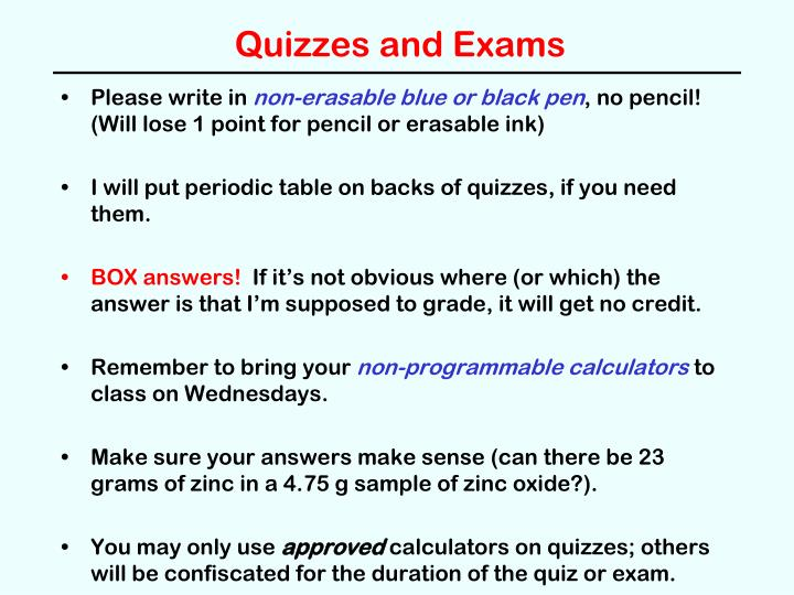 quizzes and exams n.