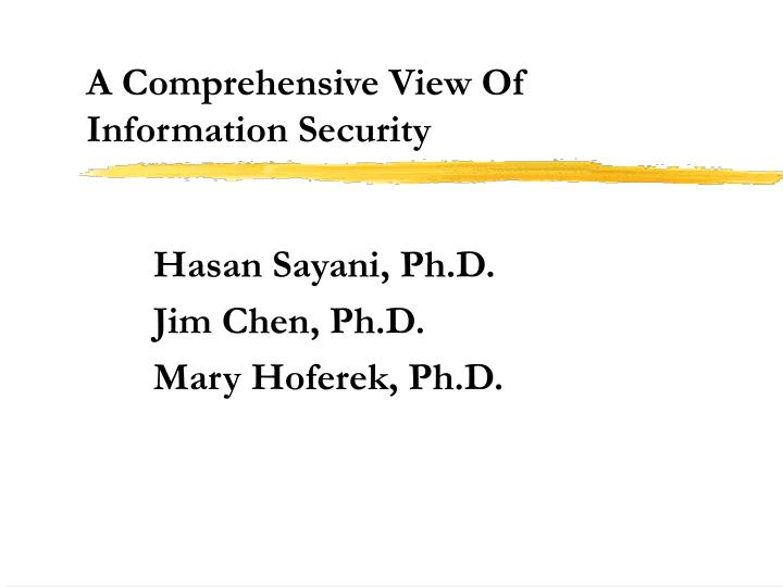 a comprehensive view of information security n.