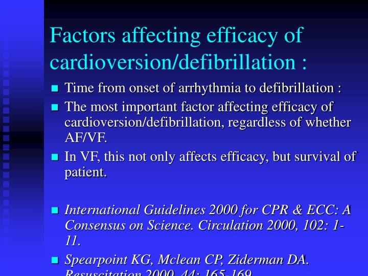 Factors affecting efficacy of cardioversion defibrillation