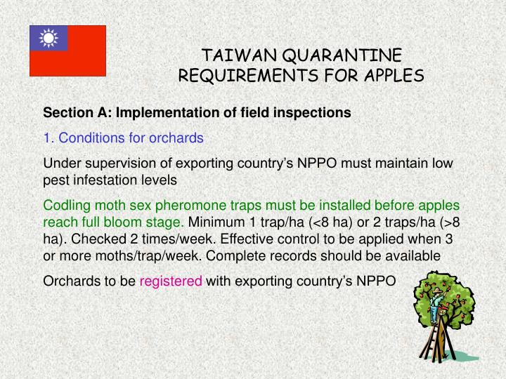 taiwan quarantine requirements for apples n.