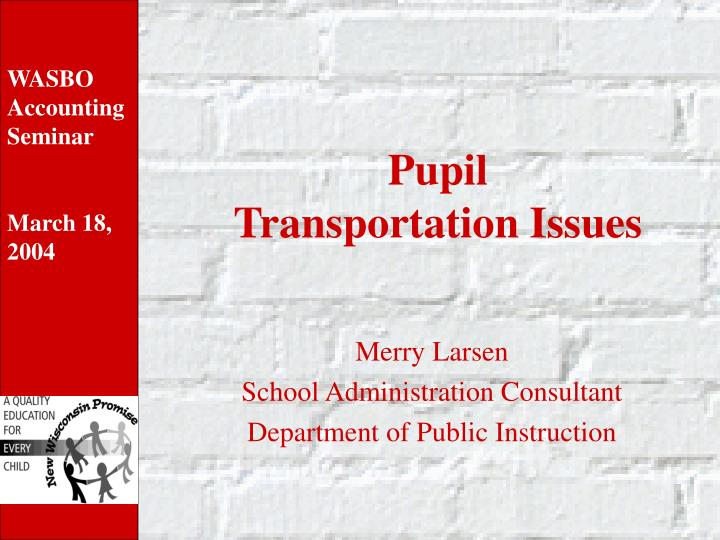 pupil transportation issues n.