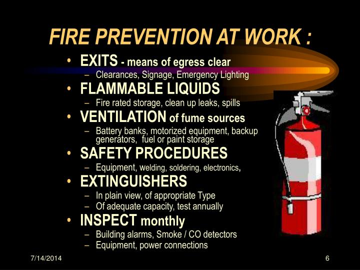 FIRE PREVENTION AT WORK :