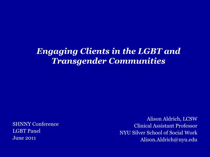 engaging clients in the lgbt and transgender communities n.
