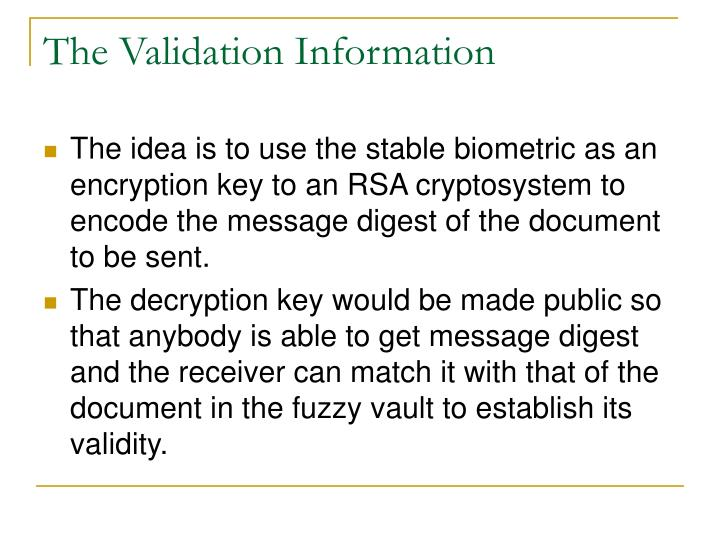 the validation information n.