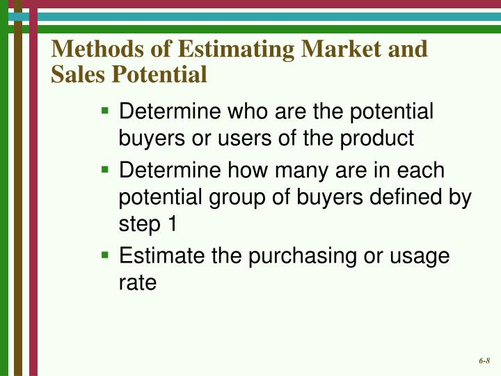 Methods of Estimating Market and Sales Potential