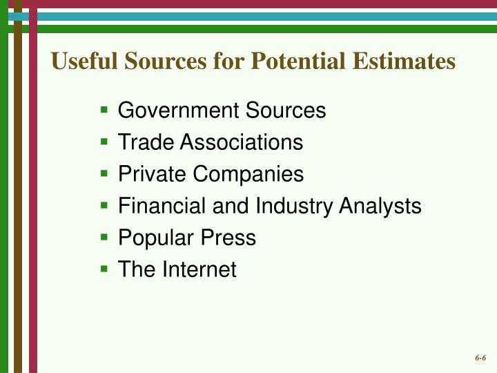 Useful Sources for Potential Estimates