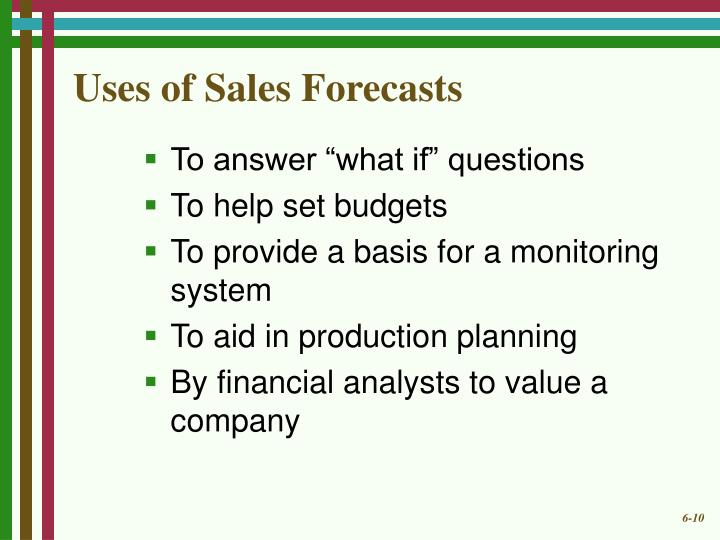 Uses of Sales Forecasts