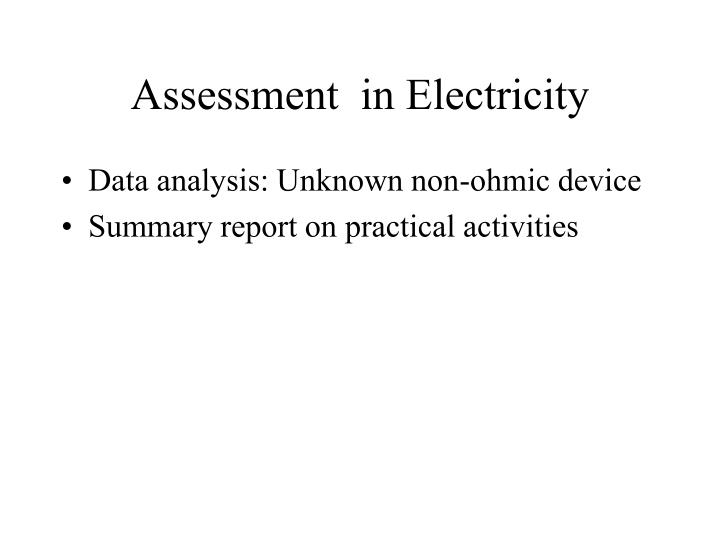 Assessment  in Electricity