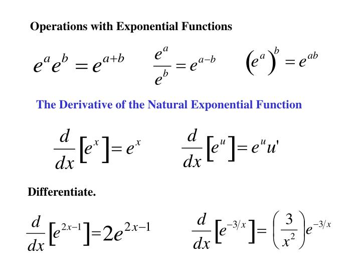 PPT - 5.4 Exponential Functions: Differentiation and ...