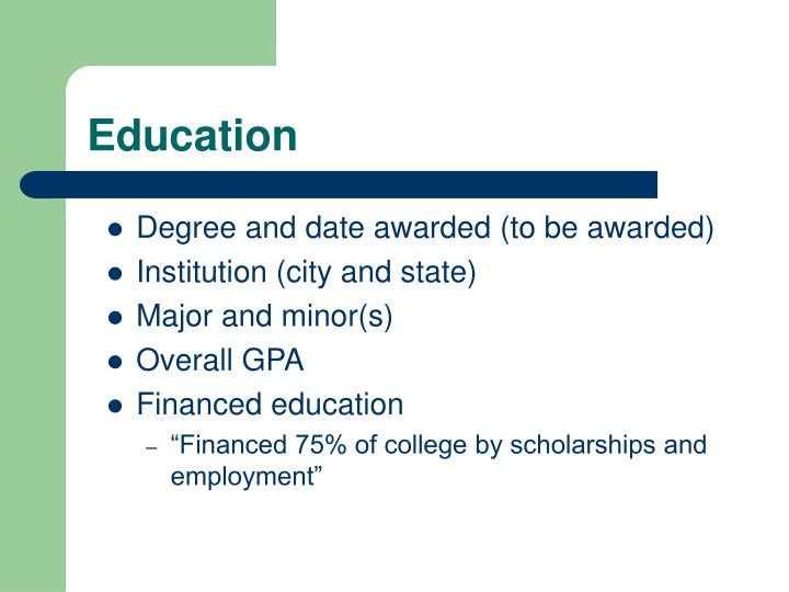 Degree and date awarded (to be awarded)