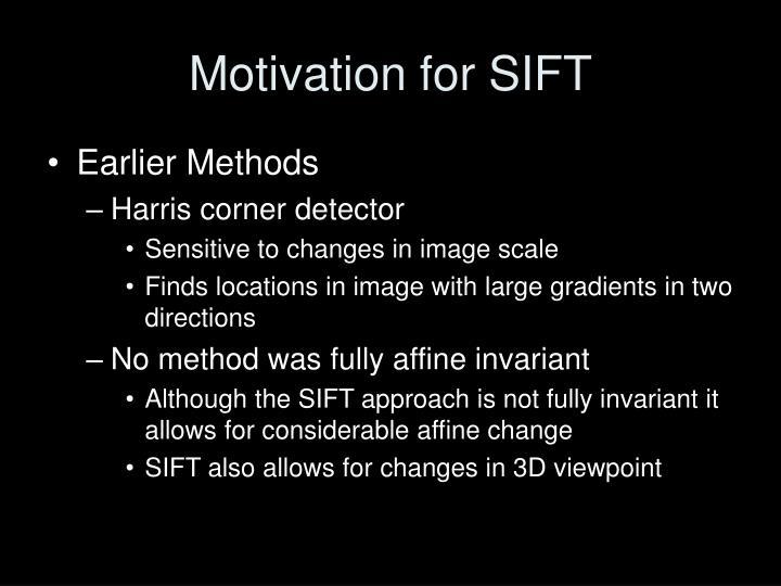 Motivation for SIFT