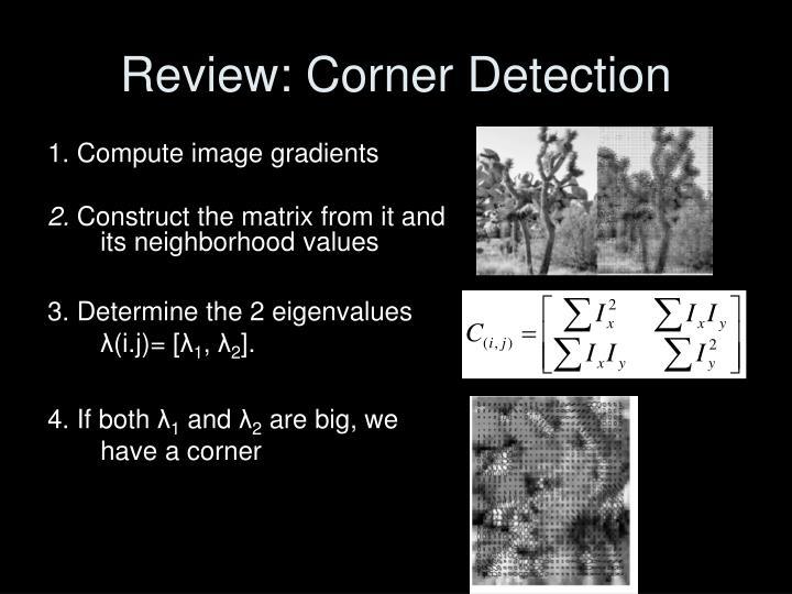Review corner detection
