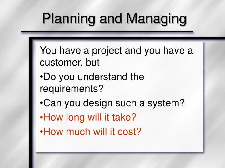 planning and managing n.