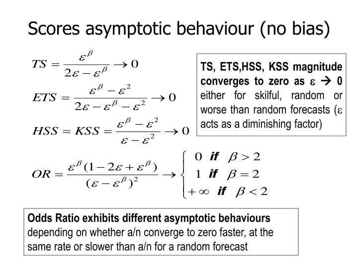 Scores asymptotic behaviour (no bias)