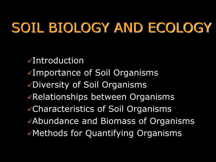 soil biology and ecology n.